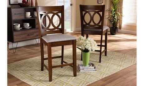 Lenoir Grey Fabric Upholstered Walnut Wood 2-Piece Counter Height Pub Chair Set