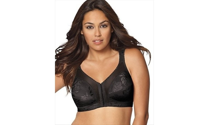 64585c965 Playtex 4695 18 Hour Easier On Front-Close Wirefree Bra With Flex Back  Black -