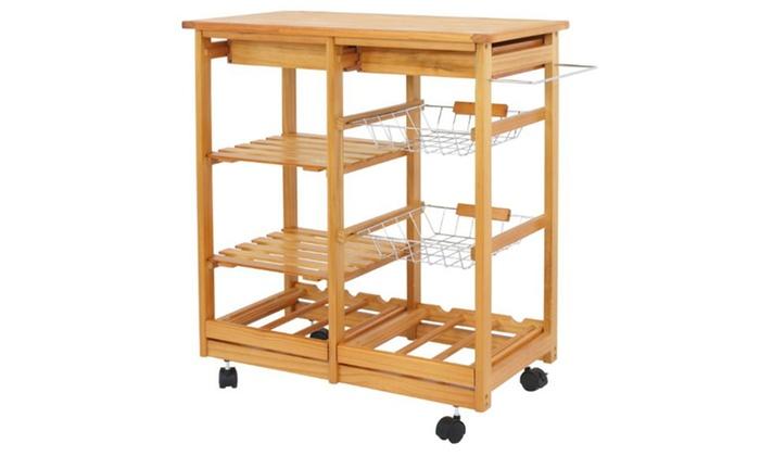 Portable Wood Kitchen Island Cart Trolley Rolling Storage 2 Baskets 2 Drawer