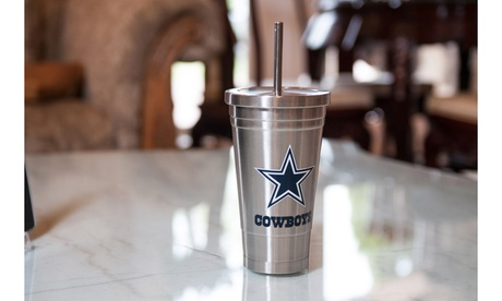NFL 16 Oz. Stainless Steel Travel Tumbler with Stainless Steel Straw f355eebc-9a02-4a7c-820d-52737f35e22e