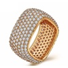 Luxury Gold-Color Square Vintage Clear CZ Big Ring For Women