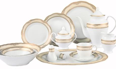 Lorenzo Import Iris 57 Piece Porcelain Dinnerware Set