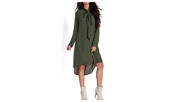Casual Loose Women Bow Tie Shirts Dress Solid Color Dresses
