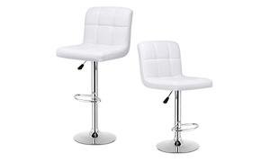 Set of 2 Bar Stools PU Leather Adjustable Barstool Swivel Pub Chairs