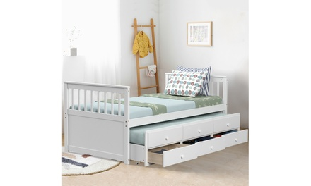 Costway Twin Captain's Kids Bed Bunk Alternative w/ Trundle & Drawers 3 Colors