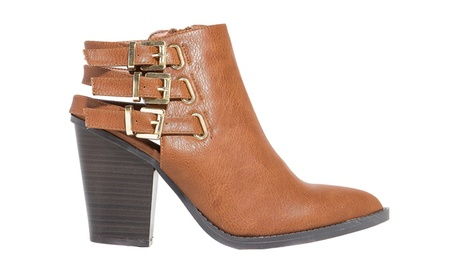 Whiskey Tan Strappy Buckle Vegan Faux Leather Ankle Women's Boots e5af731d-634c-41c4-a9b6-a4b4fd45c831
