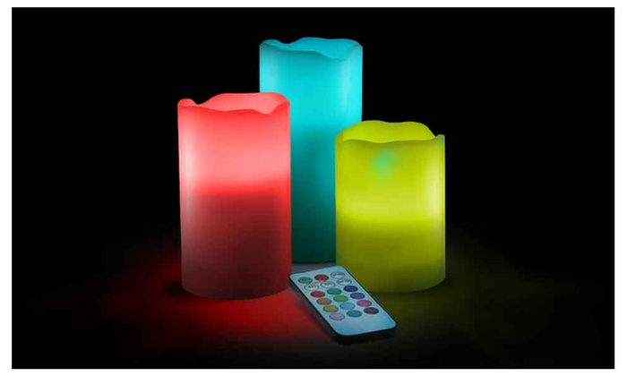 Buy It Now : LED Flameless Light Candles w/ Remote and Timer, 3 Piece Set