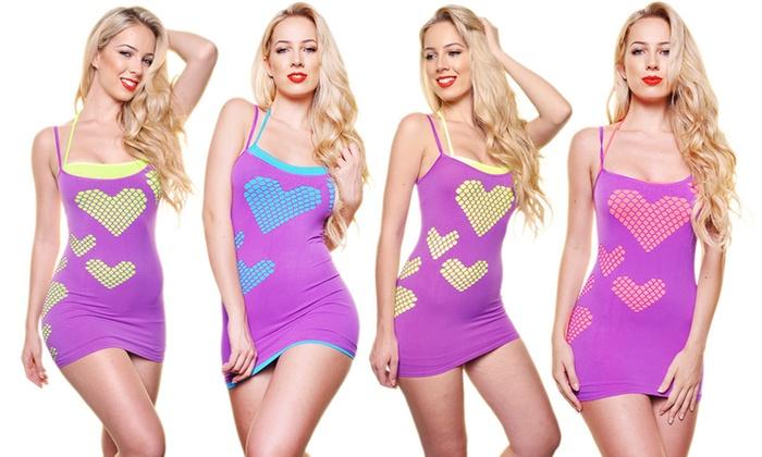 Angelina Seamless Mix-Match Layering Dress, Purple Hearts