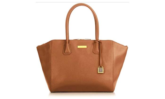 "Joy & Iman Genuine Leather ""Best Friend"" City Satchel Whisky Handbag"