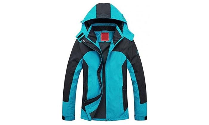Women's Waterproof Mountain Jacket Fleece Windproof Ski Jacket - Blue / Large