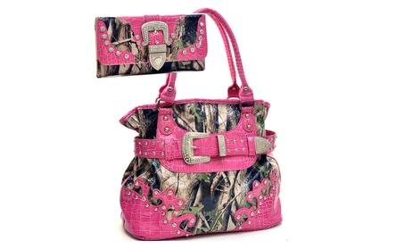 Western Camo Rhinestone Bling Purse Wallet Set (Goods Women's Fashion Accessories Handbags) photo