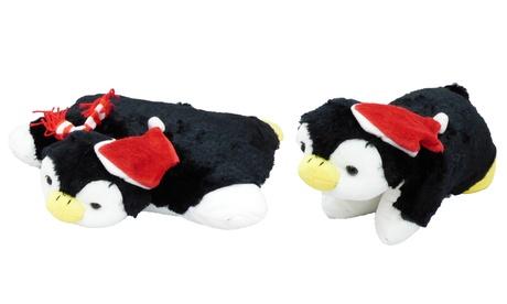 Pet Penguin Animal Pillow w/Scarf Pillow - Fold Up Plush Pet Pillow