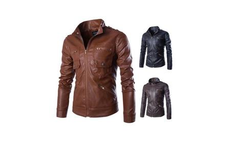 Men's PU Faux Leather Motorcycle Jacket Motor Coat 731ee2b2-e7c2-4350-af08-2168bb7f112c