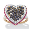 DISC- 2.76 TCW Ruby & Sapphire Heart-Shaped Ring
