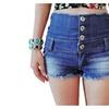 Girls Vintage High Waist One Breasted Denim Shorts Mini Short