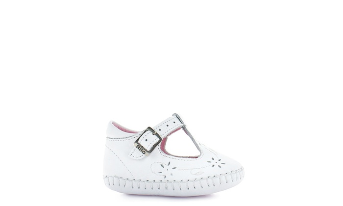 rilo dress shoe in white with cute flower perforations infant