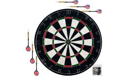 Pro Style Bristle Dart Board Set with 6 Darts & Board
