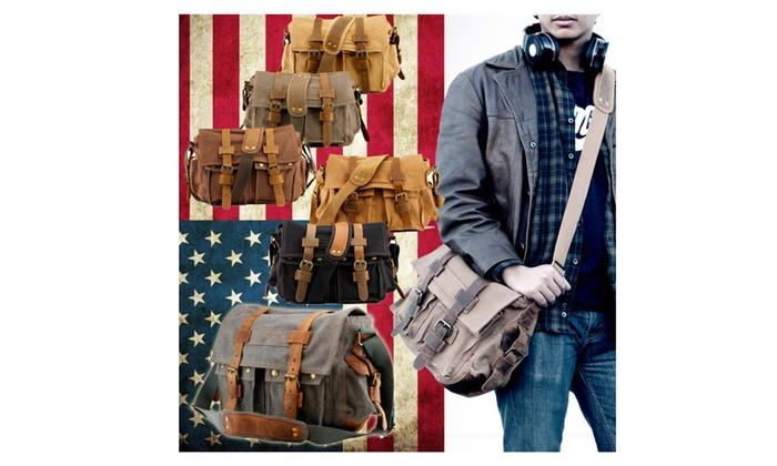 Military Canvas Leather Satchel School Laptop Shoulder Messenger Bag