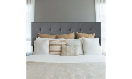Costway Tufted Linen Fabric Upholstered Queen&Full Size Headboard Gray