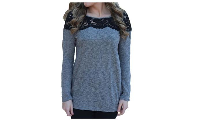 Women's Solid Cotton Blend Collarless Fashion T-Shirt