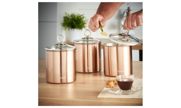 ... VonShef Set Of 3 Copper Tea Coffee U0026 Sugar Canisters Kitchen Storage ...