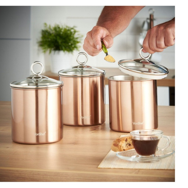 ac29c087bed9 VonShef Set of 3 Copper Tea Coffee & Sugar Canisters Kitchen Storage |  Groupon