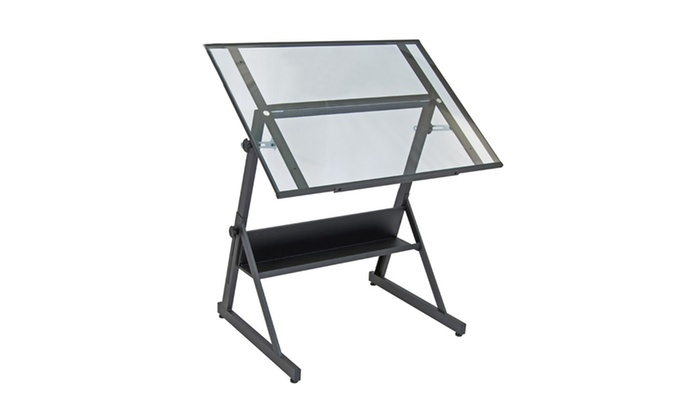 Studio Designs Solano Adjustable Drafting Table Charcoal/Clear Glass ...