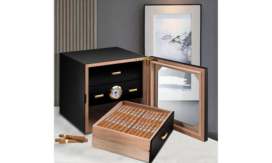 80 Cigar Humidor Desktop Cigar Box Glass Door 3 Drawers w//Hygrometer/&Humidifier