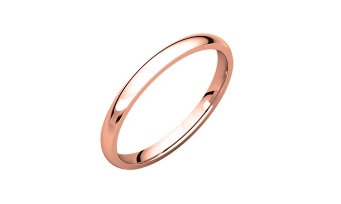 Up To 91 Off On 14k Rose Gold Plated 2mm Comf Groupon Goods