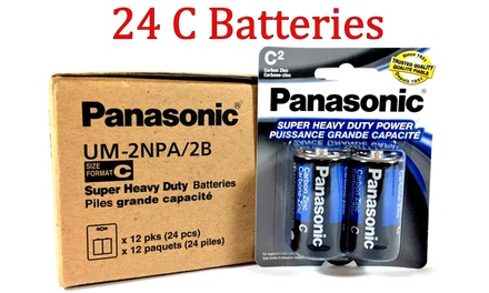 Panasonic Size C Super Heavy Duty Battery 24 Batteries Was: $49.99 Now: $22.98.