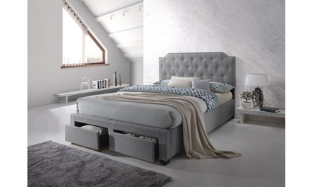 Ally Modern and Contemporary Grey Fabric 2-drawer Storage Platform Bed