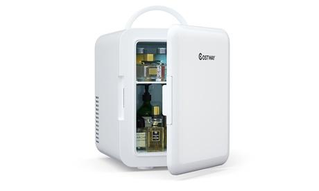 Costway 4 Liter Mini Fridge Portable Cooler Warmer Makeup Skincare Refrigerator