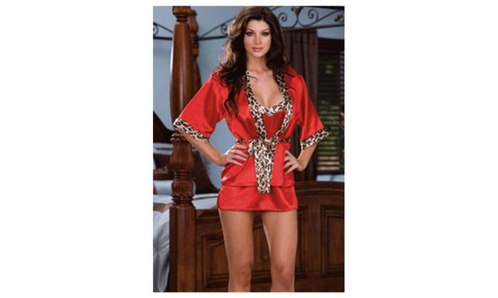 Women Short Sleeveless Sleepwear  Lace Designed Lingerie Red UWL182
