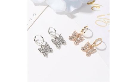 Butterfly Jewelry Set Rhinestone Crystal Necklace, Bracelet, Earrings, Ring