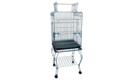 """YML Group 24"""" Open top Parrot Cage With Stand in Antique Silver ca50b507-5e16-4fba-bc39-d3342ba42414"""