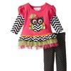 Baby Girls Fuchsia/Multi Knit to Mesh Tutu Owl Applique Dress/Legging