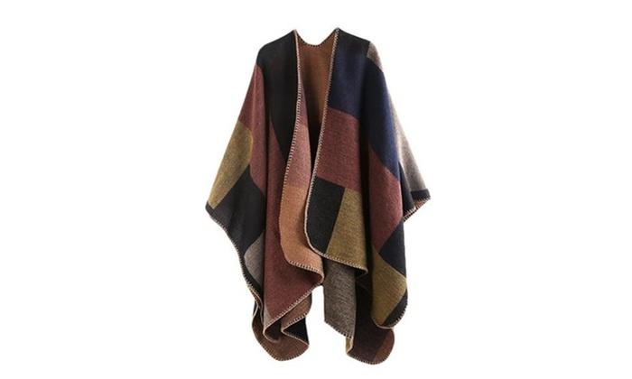 Women Reversible Poncho Cape Blanket Scarf Shawl Cardigans