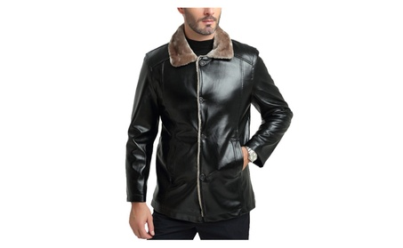 Men's Winter Warm Faux Fur Lined Collar Leather Jacket 84c32891-90c8-4c56-a935-7761882bf2fb