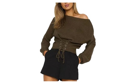 Women's Sexy Long Sleeve Bandage Lace Up Knit Pullover Sweater 6e2286b9-0dec-42ac-8f8c-962f97b82dc2