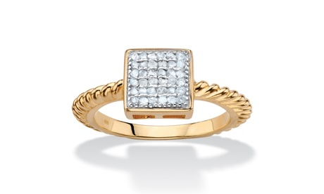 Round Diamond Accent 18k Gold-Plated Square Cluster Twisted Rope Ring 6a9e883b-f3d8-44fe-bdf7-c23b27d756c1