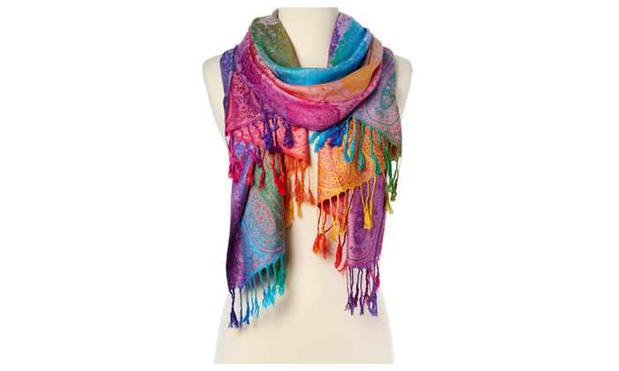 Purple & Jewel-Tone Paisley Fringe Scarf – purple