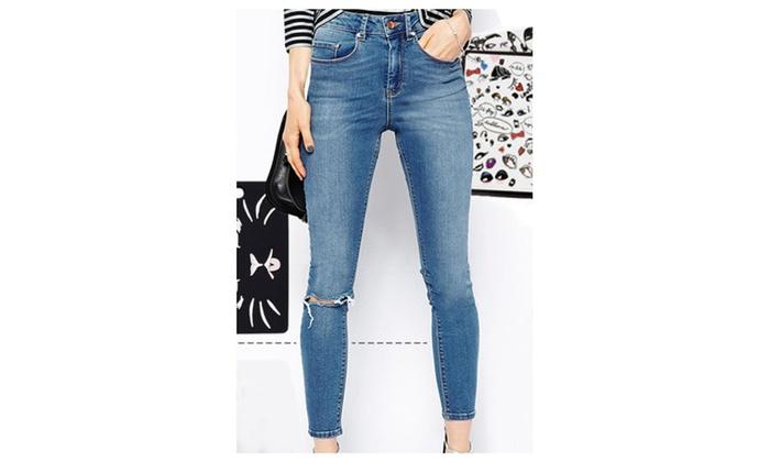 Women's Light Blue Slit Knee Tight-fitting Jeans - XL