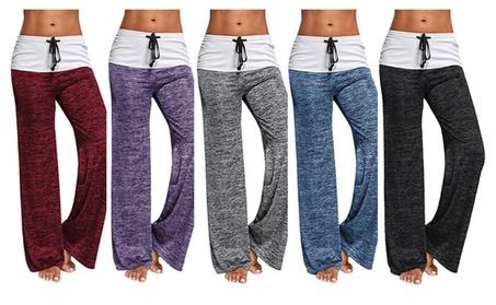 Women Wide Leg Palazzo Pants High Waist Foldover Casual Yoga Trousers 65f98e28-a736-45da-afe0-070f27b0f53c