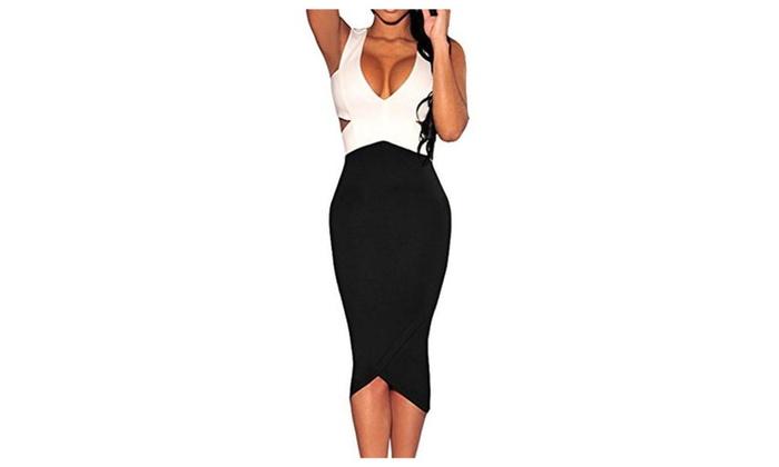 Womens Black White Sexy V-Neck Cut-Out Sleeveless Midi Dress