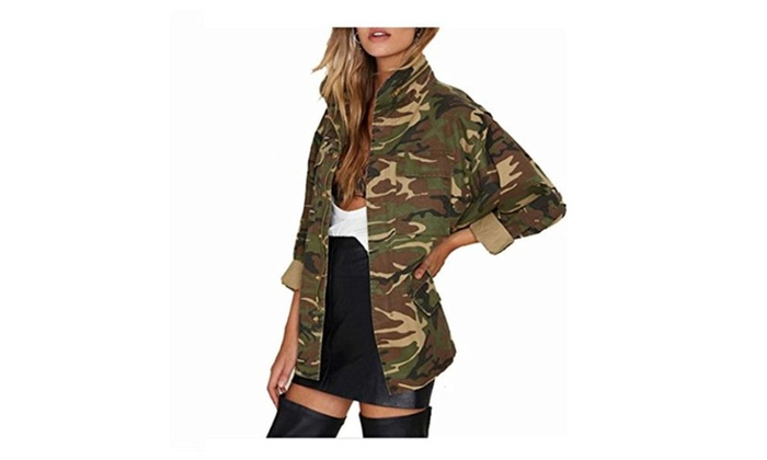 Women Camoflauge Jacket Long S...