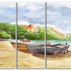 Watercolor Fishing Boats - Landscape Metal Wall Art