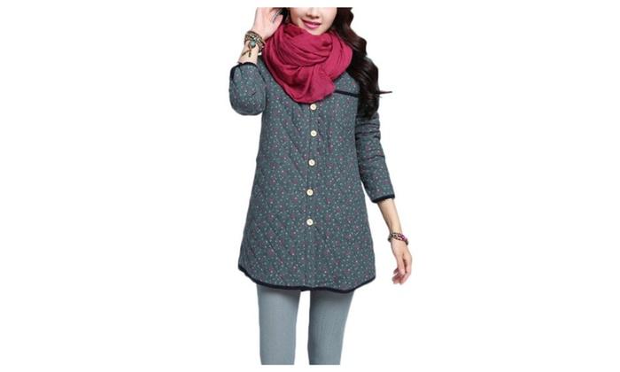 Women's Casual Outdoor Polyester Checkered Cotton Coats