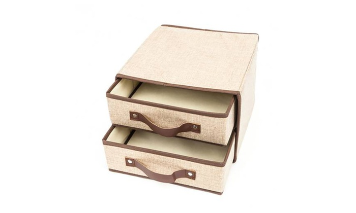 ... 4 PCs Linen Storage Boxes Bins Baskets Containers With Lids And Handle  ...