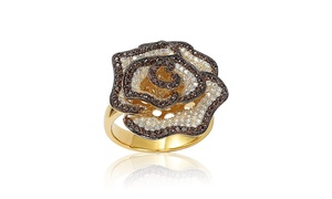 Suzy Levian Cubic Zirconia Sterling Silver Flower Ring