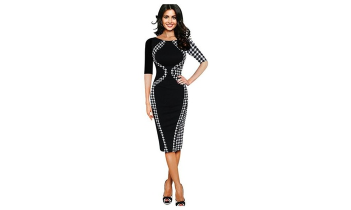 Fashion Houndstooth or Color Stitching Tall Waist Pencil Women Dress
